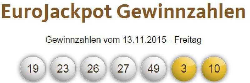 Payer Eurojackpot, numéros gagnants & quotas