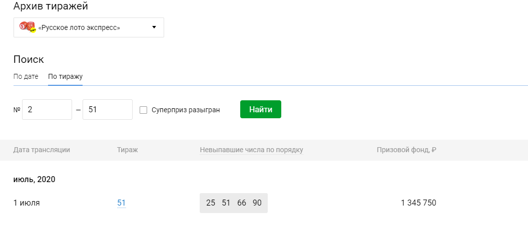 Tjek russisk Lotto-billet | resultater 1350 cirkulation