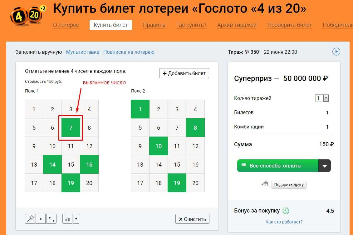 Check the ticket of any lottery online by ticket number and table of results