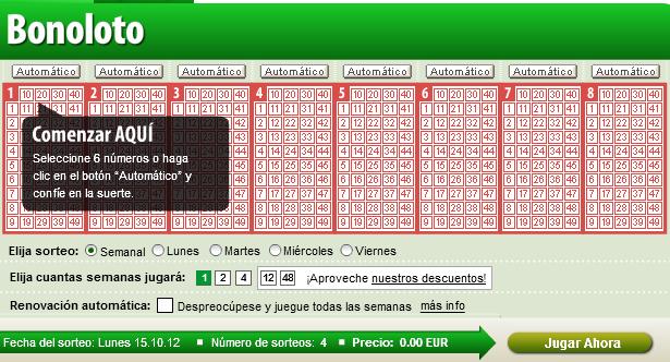 Cuando se juega loteria bonoloto.