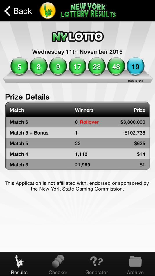Loteria de loteria de nova iorque (6 do 59)