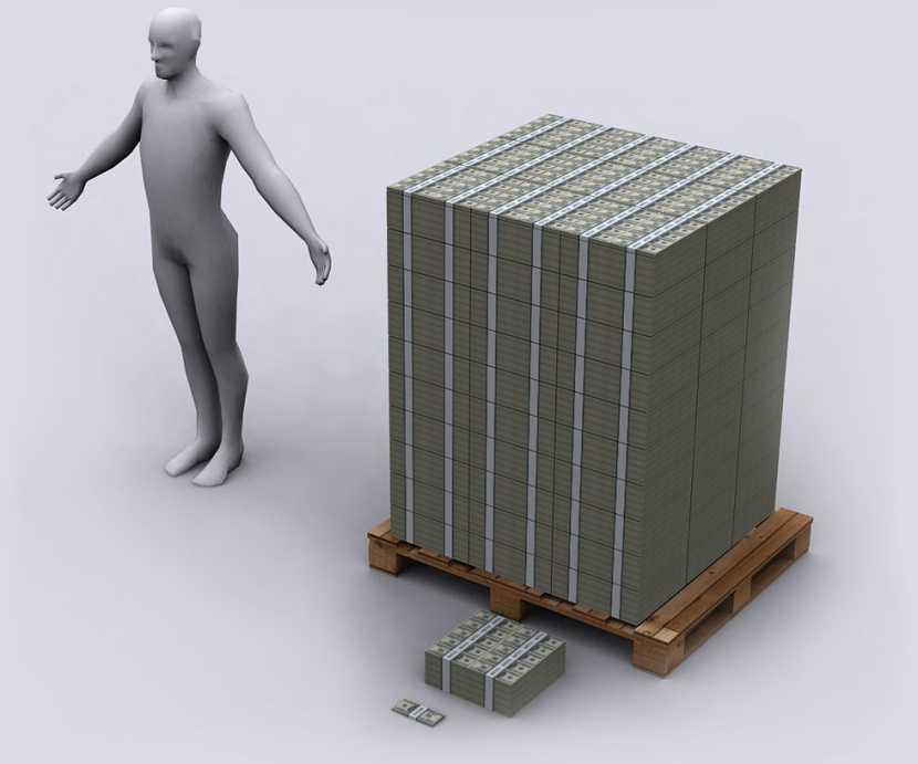 Hvordan en milliard dollar ser ut: høyde, vekten, volum