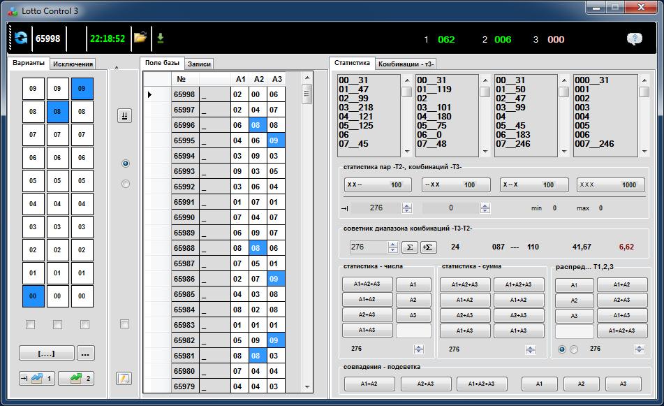 Лотерея гослото топ-3 - анализ, график суммы тиражей и графики изменения чисел по столбикам