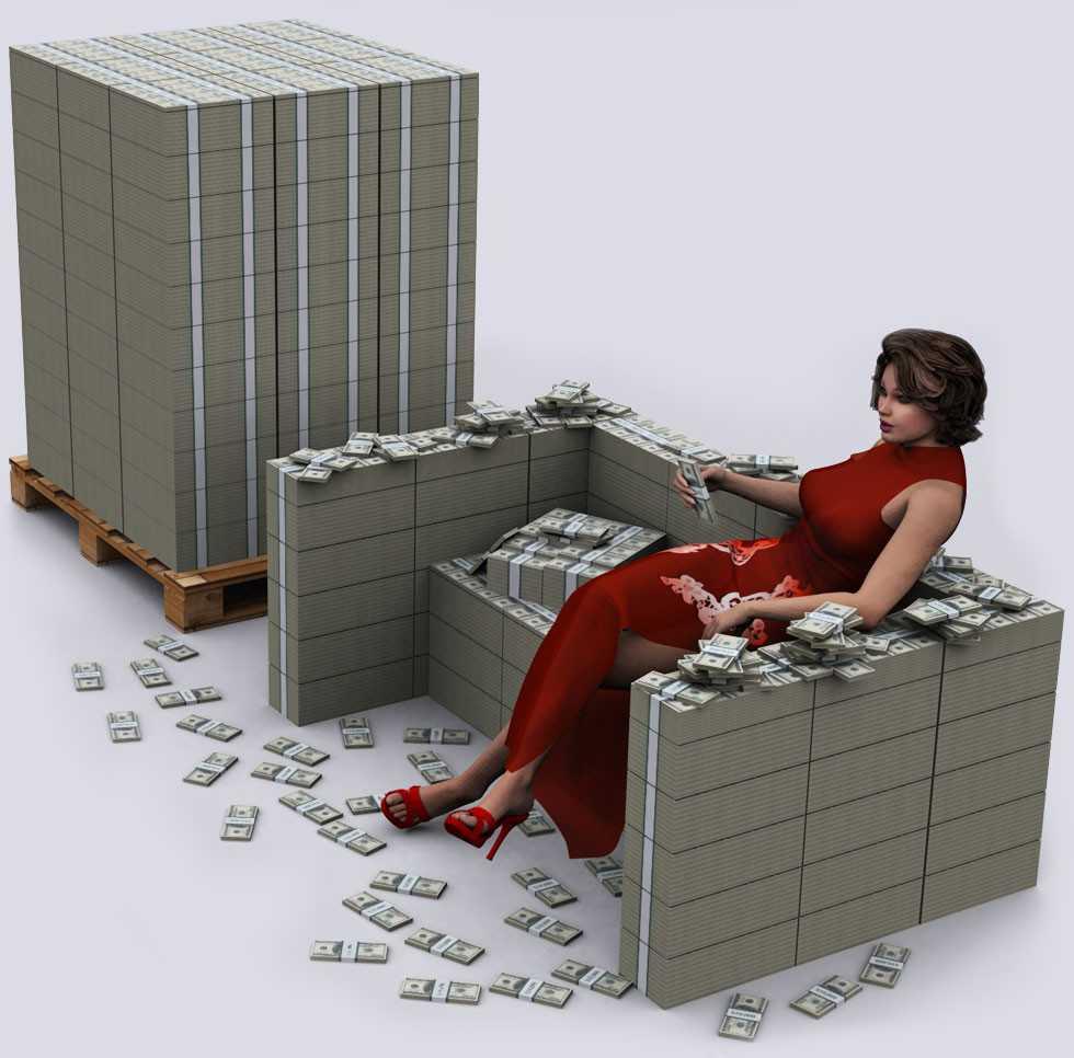 Hvor mye veier en million og milliarder dollar, rubler og euro i forskjellige valører