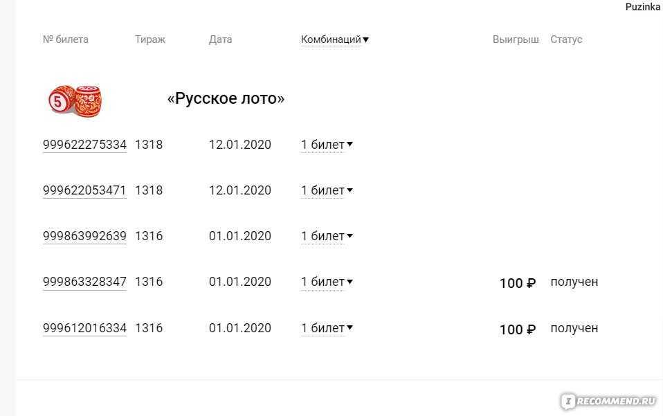 Tjek russisk Lotto-billet | resultater 1352 cirkulation