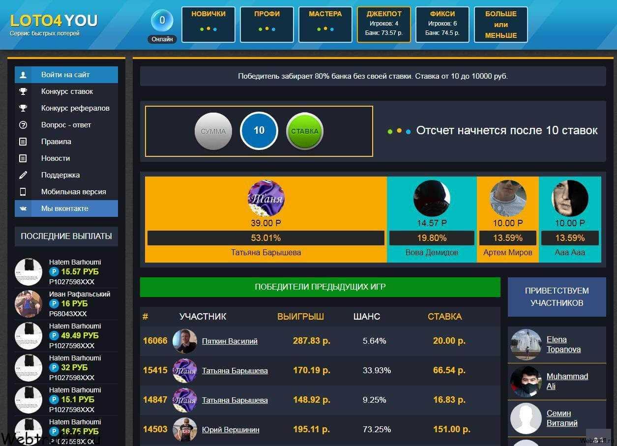 Elenco di servizi di lotteria veloce verificati ea pagamento con bonus | proworker.ru